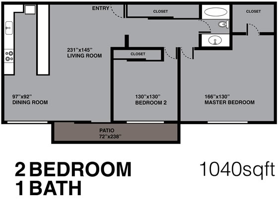 2 Bedroom, 1 Bath, 1040 sq. ft.