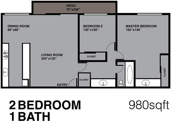 2 Bedrooms, 1 Bath, 980 sq. ft.