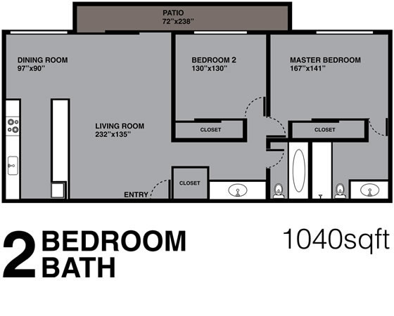 2 Bedroom, 2 Bath, 1040 sq ft